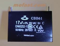 Genertaor Capacitor CBB61 17uF 250VAC , EN60262-1