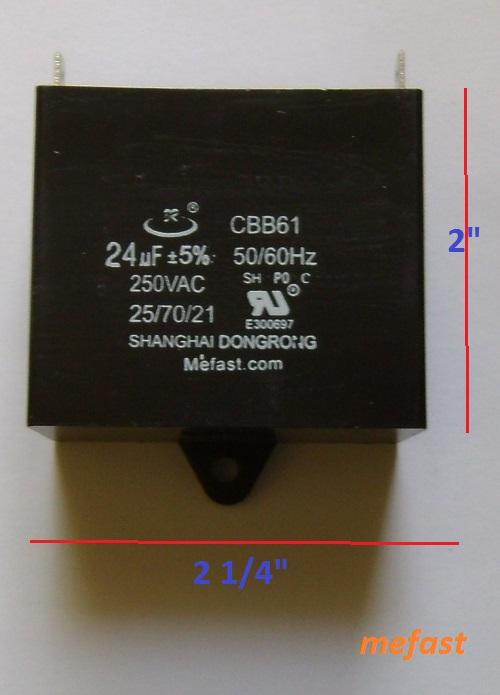 Generator capacitor                     CBB61 24uF 250VAC , voltage regulator