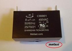 Capacitor CBB61 8uF                   450VAC Capacitor